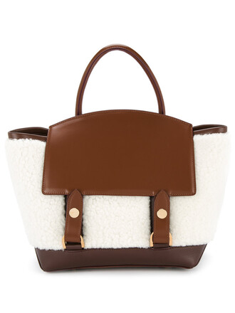 women fluffy bag tote bag leather white