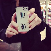 phone cover,eyes,eye shadow,cover,iphone cover,chic,style,stylish,fashion,cute,white,iphone case