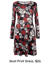 dress,printed dress,halloween,skull,floral,roses