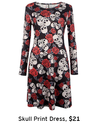 dress printed dress halloween skull floral roses