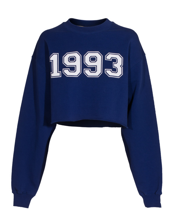 sweater msgm 1993 electric blue cropped sweatshirt msgm 1993 cropped sweater sweatshirt. Black Bedroom Furniture Sets. Home Design Ideas