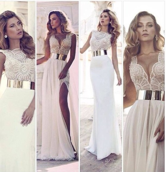 dress cream dress gold belt side split maxidress beautiful graduation dress