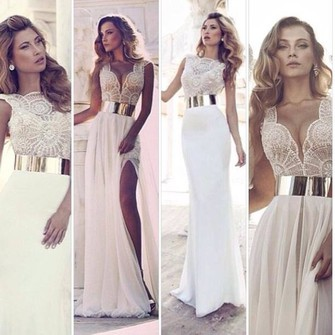 dress cream dress gold belt side split maxidress beautiful middle piece flowy the middle