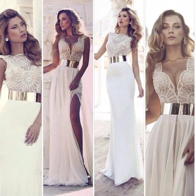 dress cream dress gold belt side split maxidress beautiful graduation dress middle piece flowy the middle