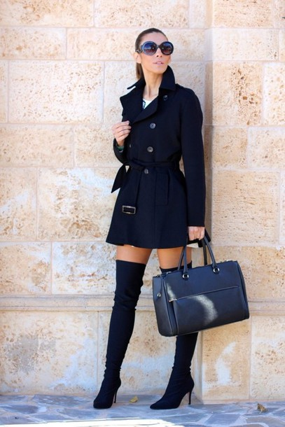 shoes black suede thigh high boots coat