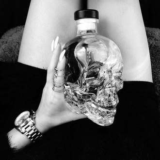 home accessory skull bottle