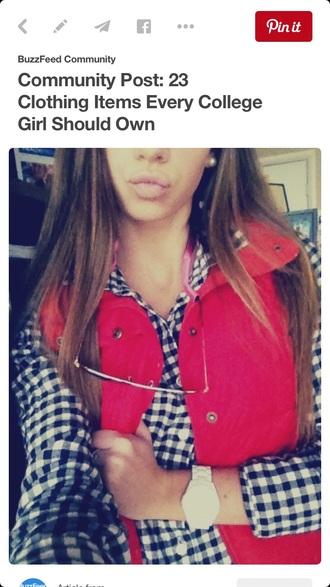 top faux fur vest plaid shirt