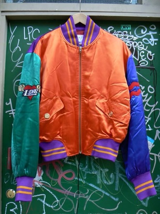 jacket vintage jacket coat bomber jacket vintage vintage jackets 90s style colorful blue green purple love clothes style fashion streetwear streetstyle dope swag jacket swag