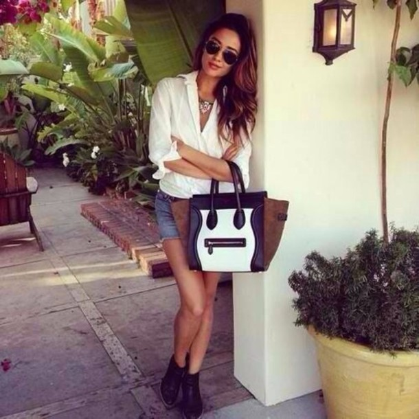 bag brown leather bag shay mitchell white