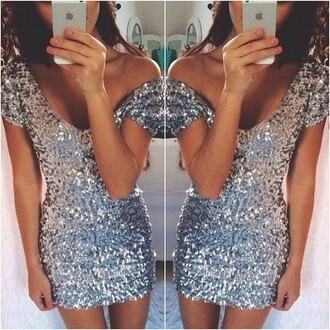dress sequins sparkly silver silver sparkly short sleeve party outfits tumblr sparkly silver dress dress iwantthissobad