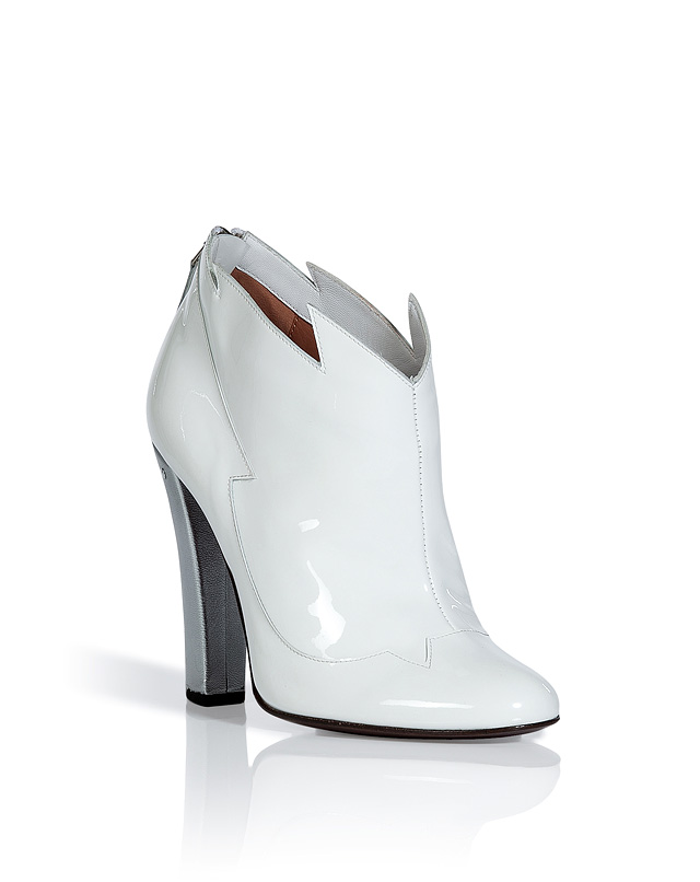 White and Silver Patent Leather Booties from LAURENCE DACADE | Luxury fashion online | STYLEBOP.com