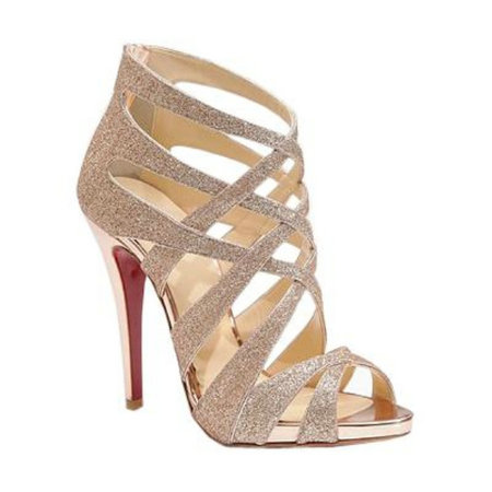 Christian Louboutin Balota 120 Glitter Nude Sandals
