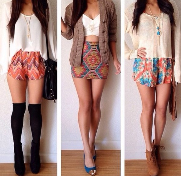 aztec print skirt sweater cardigan shorts