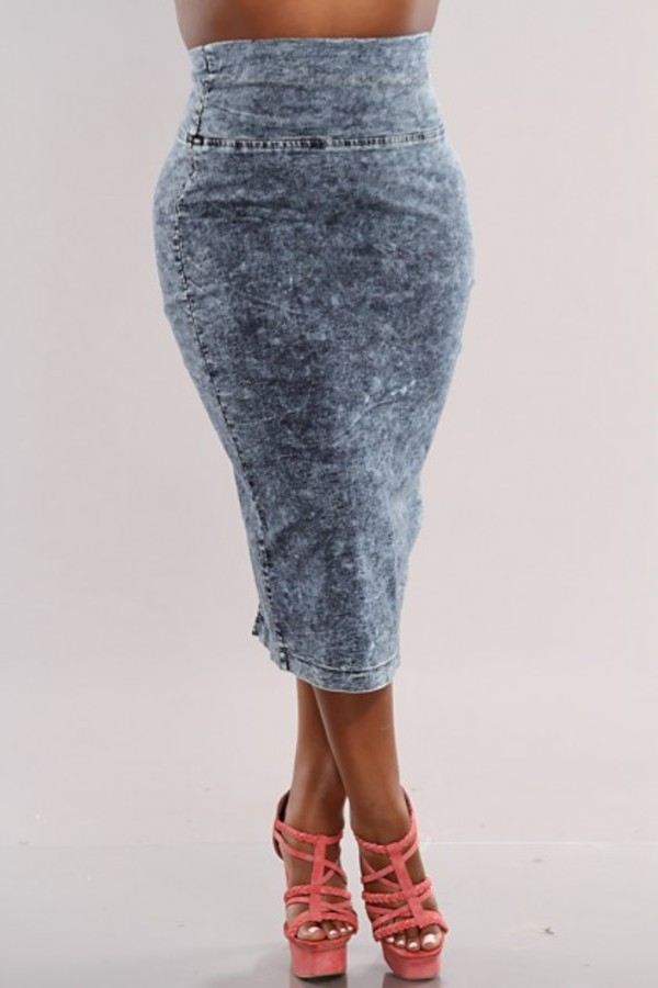 skirt acid wash shirk high waisted demin cute bodycon