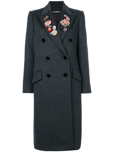 Dolce & Gabbana coat double breasted women spandex floral silk wool grey