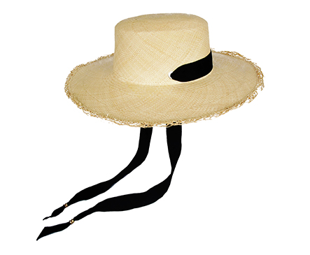 Frayed long brim boater hat with adjustable band