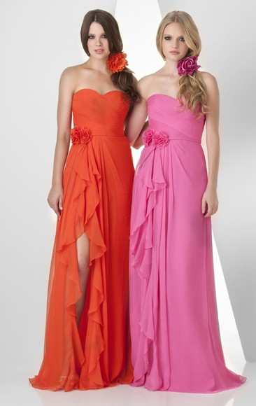 dress pink dress orange dress long chiffon bridesmaid/prom dress/gown high leg slit special occasional dresses brush train dresses bridesmaid sister team dreses