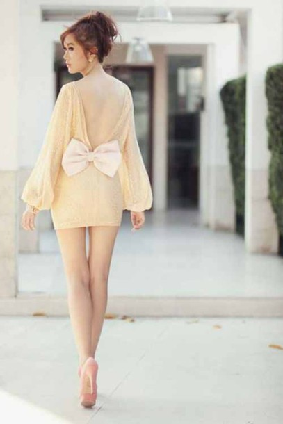 dress bow open back long sleeves shoes cute dress