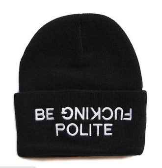 hat black quote on it white be polite