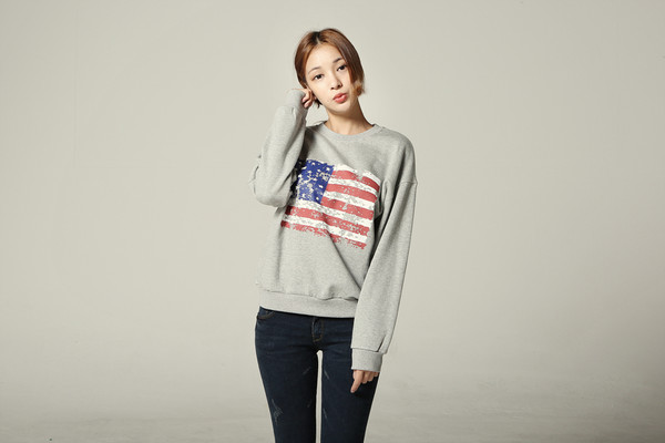 top koranfashion american flag shirt