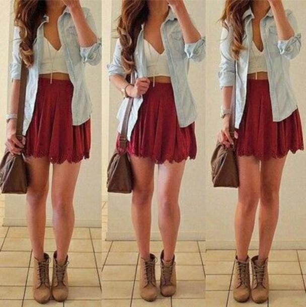 skirt crop tops denim jacket top shoes
