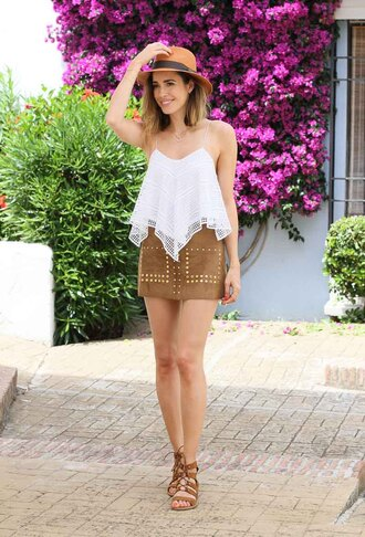 louise roe blogger top skirt shoes hat jewels