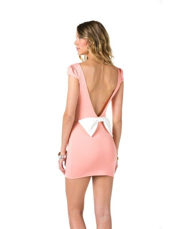 Bow Back Dress v backed mini dress mini dress peach dress www.ustrendy.com