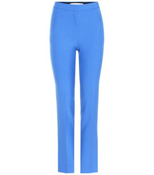 Victoria Victoria Beckham Virgin Wool-blend Cigarette Pants in blue