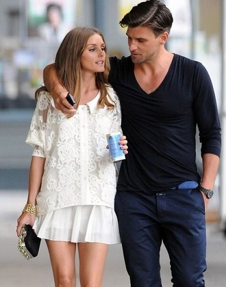 dress olivia white lace olivia palermo palermo pleated skirt