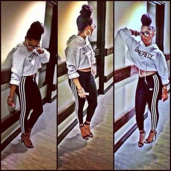 pants black and white adidas leggings clothes sweater