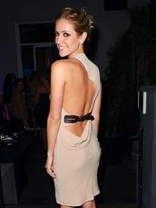 dress,kristin cavaleri,backless,belted dress,tan dress,one shoulder,one shoulder dress