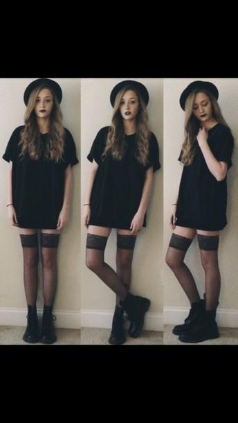 dress black dress grunge dress