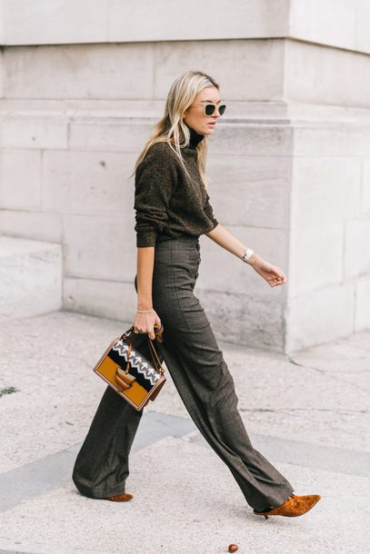 sweater tumblr knit knitwear pants grey pants wide-leg pants bag shoes streetstyle sunglasses brown sweater