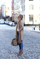 coat,tumblr,camel,camel coat,scarf,shirt,white shirt,work outfits,office outfits,winter work outfit,bag,nude bag,denim,jeans,blue jeans,cropped jeans,boots,nude boots,high heels boots,pointed boots,lace up boots