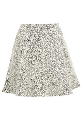 Cream Animal Jacquard Skater Skirt - Topshop