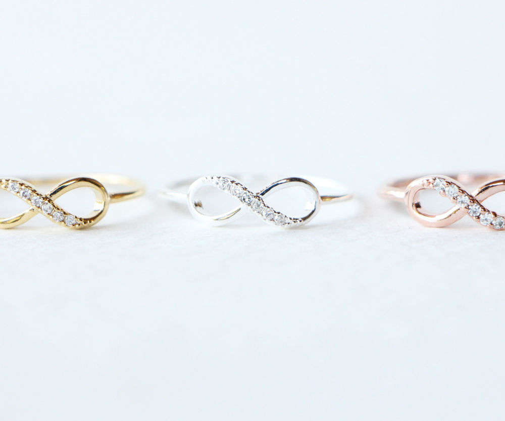 Wave Infinity Ring / Gold Silver Rose CZ Celebrity Cute Cool Womens Girls R024 | eBay