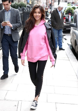 sweater hoodie madison beer streetstyle pink