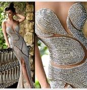 dress,thigh slit,prom dress,rami salamou,gown,party dress,2016 wedding dresses,2015 wedding dresses,fashion,urgent,silver,beaded,mesh,mesh dress,backout,elegant dress,elegant,jewlrey