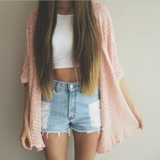 cardigan pink sweater summer shorts