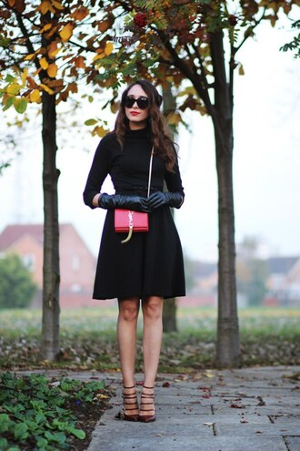 preppy fashionist blogger ysl bag mini bag leather gloves classy black dress ankle strap heels