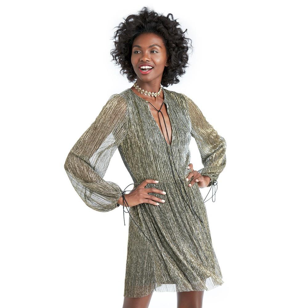 J.O.A. J.O.A. Long Sleeve Mini Dress  - Gold-X-Small