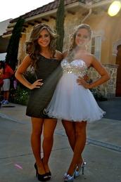 dress,sparkling dress,white,white dress,short dress,prom dress