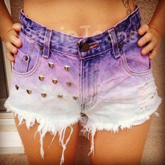 Highwaisted denim shorts purple ombre