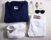sweater,shoes,jeans,swaeter,calvin klein,acne studios,watch,jewels,sunglasses,black,rayban,indie,vans,tumblr sweater,tumblr shoes,sneakers,platform shoes,cheap monday,white,white jeans,denim,high waisted jeans,knitwear,shades,necklace,blue sweater