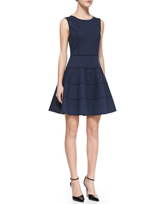 Halston Heritage Sleeveless Ponte Fit-and-Flare Dress, Navy   - Neiman Marcus