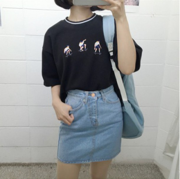 Shirt korean fashion tumblr tumblr aesthetic aesthetic skating skater miniskirt denim ...