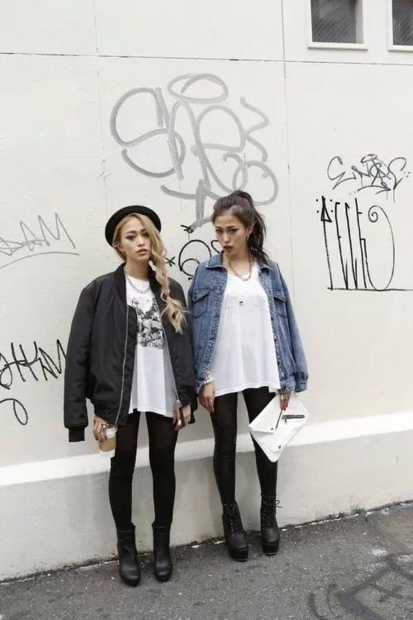jacket shirt shoes bag tags topshop jacket black denim bomber jacket coat tumblr girl hat fashion grunge soft grunge denim jacket black jacket blouse white asian fashion high heels heels platform shoes leather jacket leggings jeans black jeans stylish chiffon bomber jacket oversized jacket cute pretty outfit