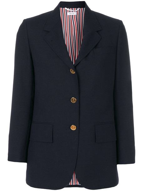Thom Browne blazer women classic blue silk wool jacket