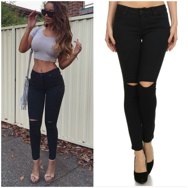 Black Cut Out Knee Skinny Jeans