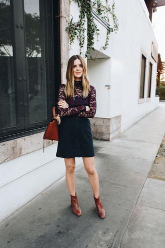 le fashion image blogger belt bag skirt shoes handbag brown bag brown boots ankle boots